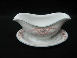 Vintage Gravy Sauce Boat Dish Bowl Burnt Brown & Blue Flora Design - $11.26