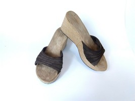 Ugg AUSTRALIA Alvina 3100 Women's Sandals Brown Leather Suede Wedge Shoes 10 - $39.42