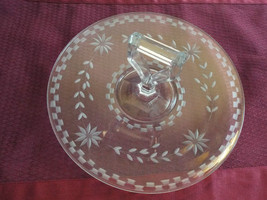 "10"" Handled Etched Clear Glass Round Serving Dish w/ Flowers & Checkerbo... - $19.99"