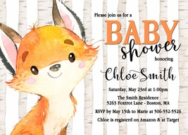 Fox Baby Shower Invitation, Gender Neutral Invitation, Boy Baby Shower I... - $0.99