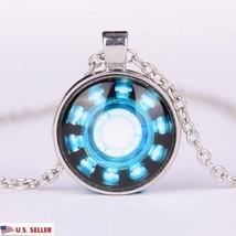USA Comic Marvel Tony Stark Iron Man Arc Reactor Glass Dome Silver Necklace - $9.99
