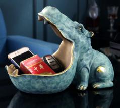 Resin Statue Hippopotamus Sculpture Key Container Home Table Decoration - $90.00+
