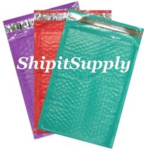 3-600 #000 4x8 ( Purple Teal & Red ) Combo Poly Color Bubble Padded Mailers - $3.46+