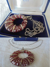 NECKLACE in STERLING silver 925 with MURANO glass pendent charm Original... - $39.00