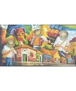 Rare Signed Carnival de Barranquilla Festival Folk Art Large Painting Co... - $6,271.99