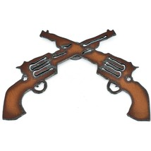 "Country Western Rusted Patina Iron Metal Cutout Revolver Pistol 5.25"" Magnet image 1"