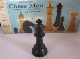 1969 Chess Men Board Game Piece: Authentic Stauton Design - Black King - $1.00