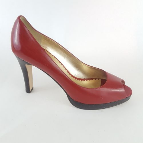 Jessica Simpson Abby Pumps Red Patent Leather Peep Toe Women's 8.5B