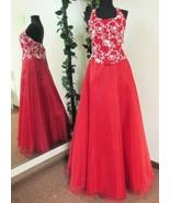 New Sz 10 Long Red Organza Prom Dress Ball Gown Bridesmaid Formal Evenin... - $35.99