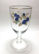"Royal Worcester Gold Trim Evesham 14 oz Water Goblet Glass 7"" Plums - $9.88"