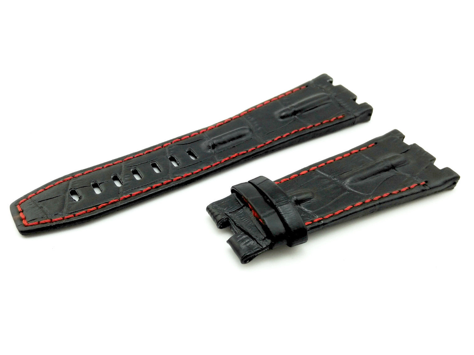 28mm Black/Red 3 Real Leather Watch Strap For Audemars Piguet Royal Oak Offshore - $41.94