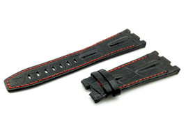 28mm Black/Red 3 Real Leather Watch Strap For Audemars Piguet Royal Oak ... - $41.94