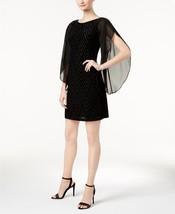 Donna Ricco Velvet Geo-Print Angel-Sleeve Dress BLACK SIZE 4 - $20.79