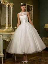 Jewel V Back Sleeveless Tea Length White Lace Tulle Back Buttons Wedding Dress - $129.00