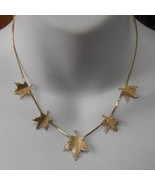 Signed Gold-tone Maple Leaves Necklace - $15.99