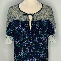 Ann Taylor Floral Dress 10 Navy Blue Flutter Sleeve - $34.62