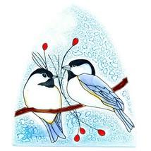 Fused Art Glass Winter Chickadee Bird Nightlight Night Light Handmade Ecuador