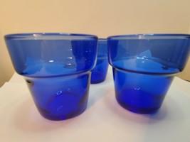 """Vintage Cobalt Blue Glass 2.7"""" Planters Pots Cups Vase - $30.00"""