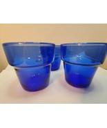 """Vintage Cobalt Blue Glass 2.7"""" Planters Pots Cups Vase - $29.70"""