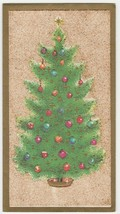 Vintage Christmas Card Tree with Ornaments Glitter Gold A Quaint Shop Or... - $8.90