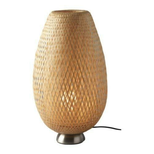 IKEA BÖJA Table lamp with LED bulb, nickel plated, bamboo image 4