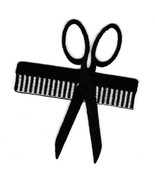 3 Inch Comb Scissors Haircut Logo Iron On Patches Barber Shop Clothes Badge Sign - $15.63