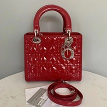 Authentic Christian Dior Lady Dior Medium Red Patent Shoulder Tote Bag SHW