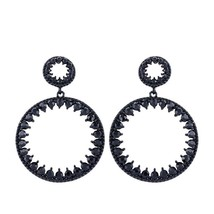 Women Round Dangle Earrings Fashion Crystal Rhinestone Black Push Back C... - $5.93