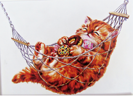 Cross Stitch Needlepoint Kit Plump Cat Enjoying Hammock Hobby Products 14C - $22.72