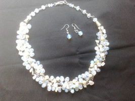 Unique bridal crochet wire necklace. Rainbow moonstone necklace. Beaded ... - $69.90