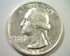 1935 WASHINGTON QUARTER ABOUT UNCIRCULATED AU NICE ORIGINAL COIN BOBS COINS - $15.00