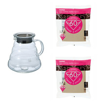 The Hario XGS-80TB Glass Kettle (V60 Series) with Lid and 200 Paper Filters - $42.56