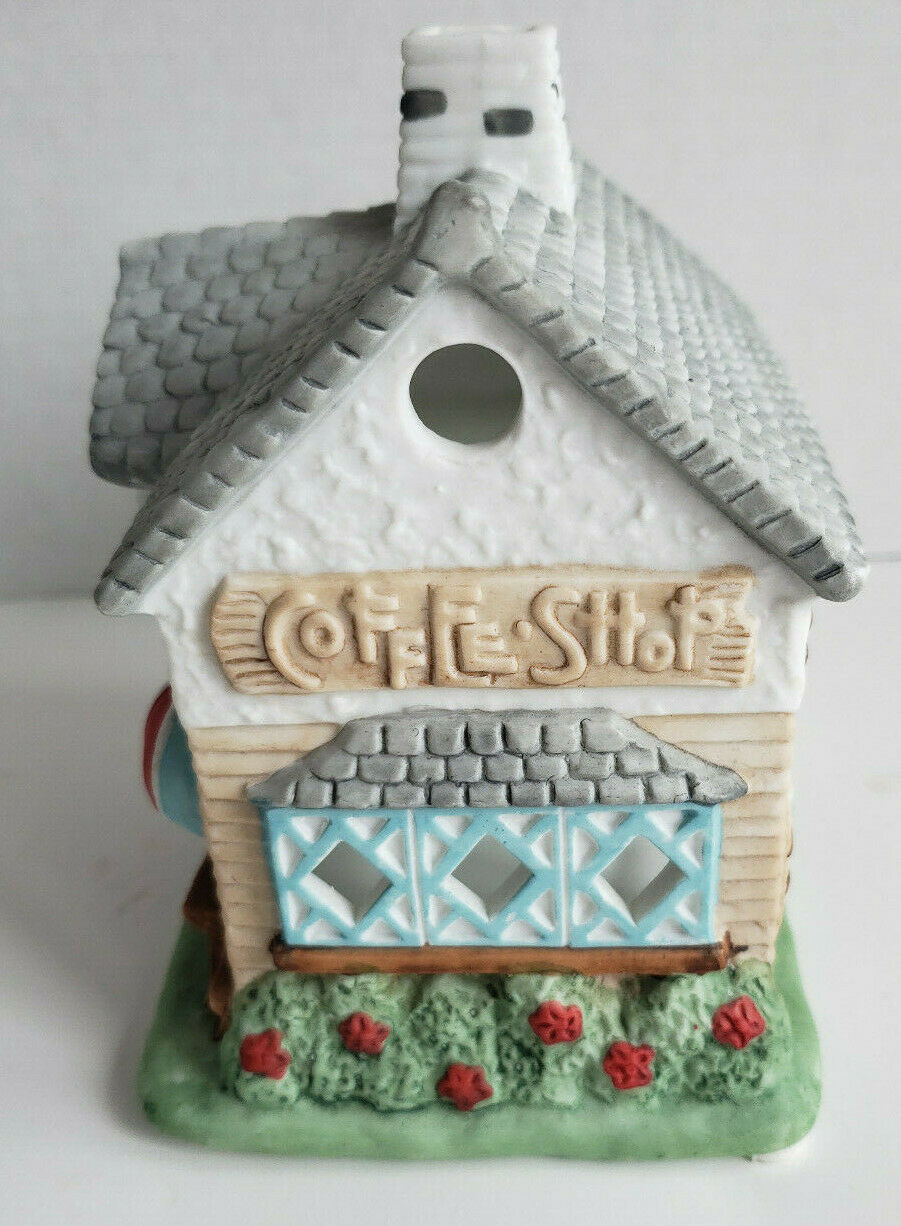Coffee Shop Cafe Tealight Candle Holder Holiday Village PartyLite P0226 Vtg