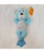 Midwood Brands Baby Bear Lovey Rattle Teether Blue Gray Chevron Plush To... - $19.97