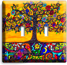 MEXICAN TREE OF LIFE FOLK ART LIGHT DOUBLE SWITCH WALL PLATE ROOM HOUSE ... - $10.79