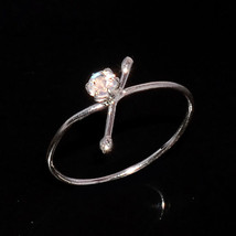 MOONSTONE NATURAL FIRE 3 MM ROUND 925 STERLING SILVER 5.5 US RING - £4.67 GBP
