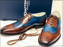Handmade Men's Brown & Blue Wing Tip Brogues Lace Up Dress/Formal Oxford Shoes image 2