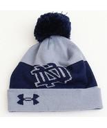 Under Armour Notre Dame Gray & Blue Knit Cuff Pom Pom Beanie Men's One S... - $33.40
