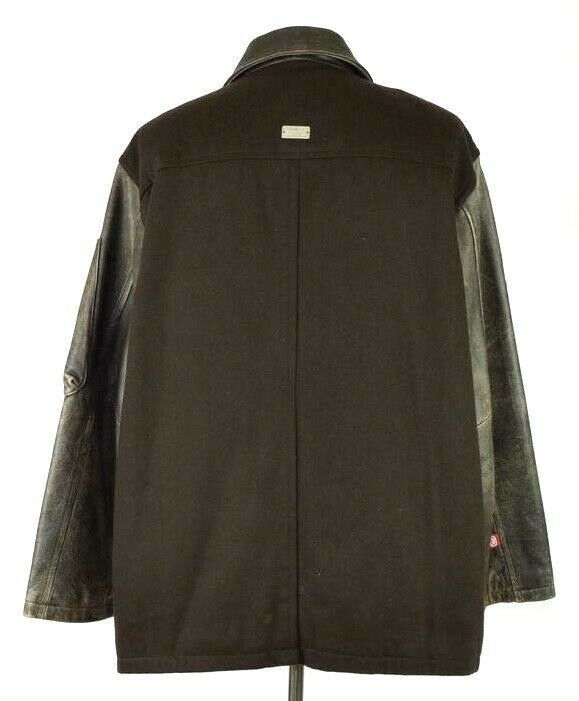 Marc Ecko Leather & Wool Heavy Bomber Jacket Brown Varsity Style Button Mens XL image 3