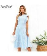 Forefair Hollow Out Sleeveless A Line Summer Midi Dress Women Ruffles La... - $52.28