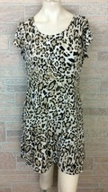 Chico's Dress size 1 8 10 Black Brown Cheetah Stretch Travel Knee A Line - $19.79