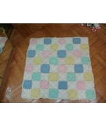 Handmade crocheted pastel patches baby blanket throw afghan - $22.99