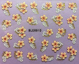 BANG STORE Nail Art 3D Decal Stickers Pretty Pink Flowers with Gold Accents CUTE - $3.67