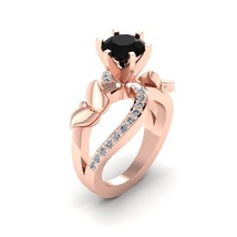 Round Cut 1.60cttw Lab Created Black and White Diamond Butterfly Engagement Ring - $1,159.99