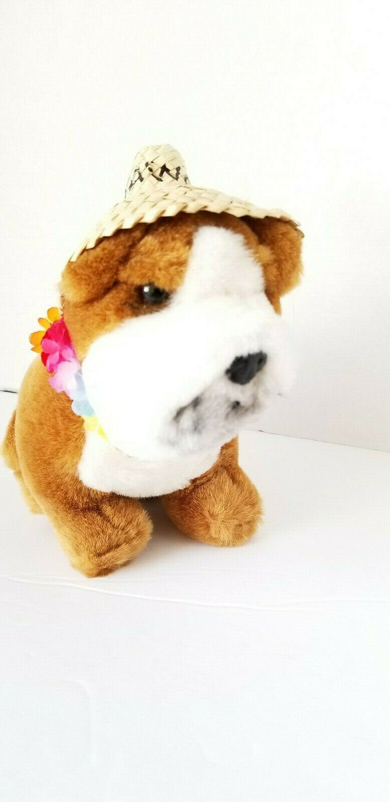 Primary image for Vintage Dakin Hawaiian Bull Dog Lei Plush Toy with original tags 1985 8""
