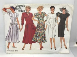 Vogue #1715 MISSES'  DRESS Basic Design  Uncut Sewing Pattern Size 6-8-10 - $6.92