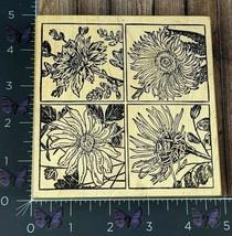 Magenta Four Square Framed Flowers Rubber Stamp Detailed Garden Wood #AG21 - $7.18