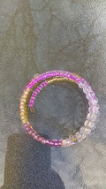 Frosted Pink and Gold Memory Wrap Bracelet - $7.00