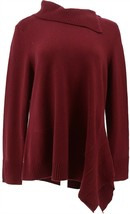 H Halston Turtleneck Asymmetrical Tunic Sweater Port Wine M NEW A370216 - $44.53
