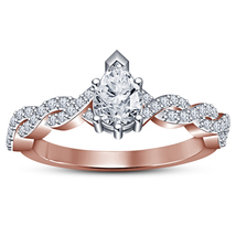 14k Rose Gold Plated Stamp 925 Silver Pear Shape White CZ Women's Wedding Ring - $74.51